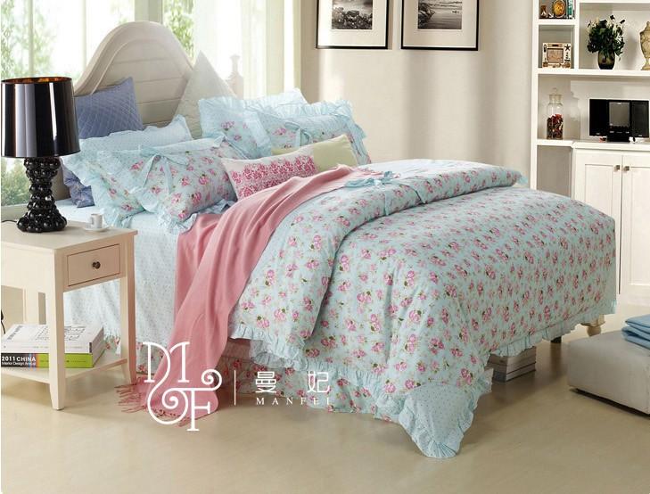 Girls Luxury Bedding: Blue-Princess-Korean-Style-Luxury-Girls-Bedding-Sets-Rose