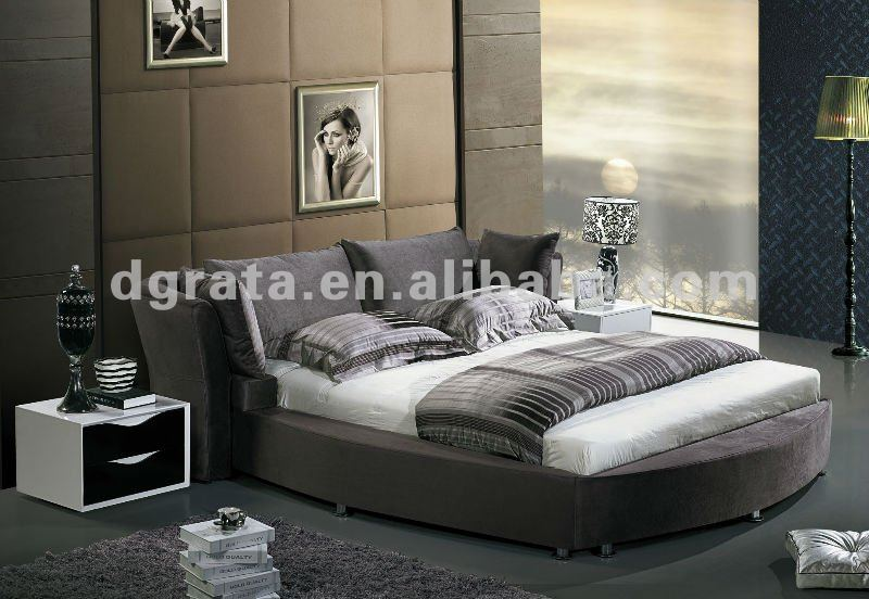 2012 latest design round fabric double bed is make from flannelette and have drawer