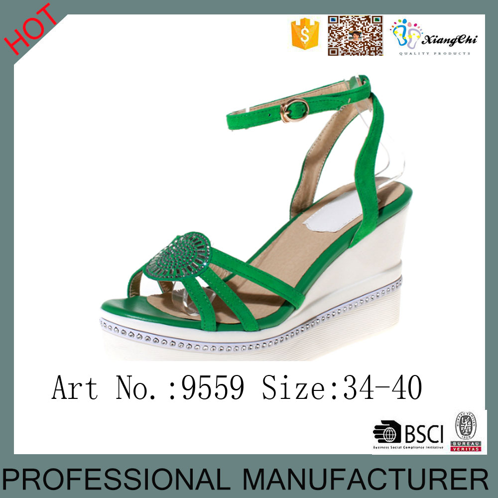 Fashion wedge sandasl for footwear and leather PU wedge shoes <strong>sandals</strong>