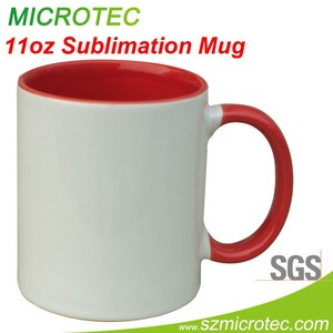 11oz white mug for sublimation, inner and handle color mug for sublimation