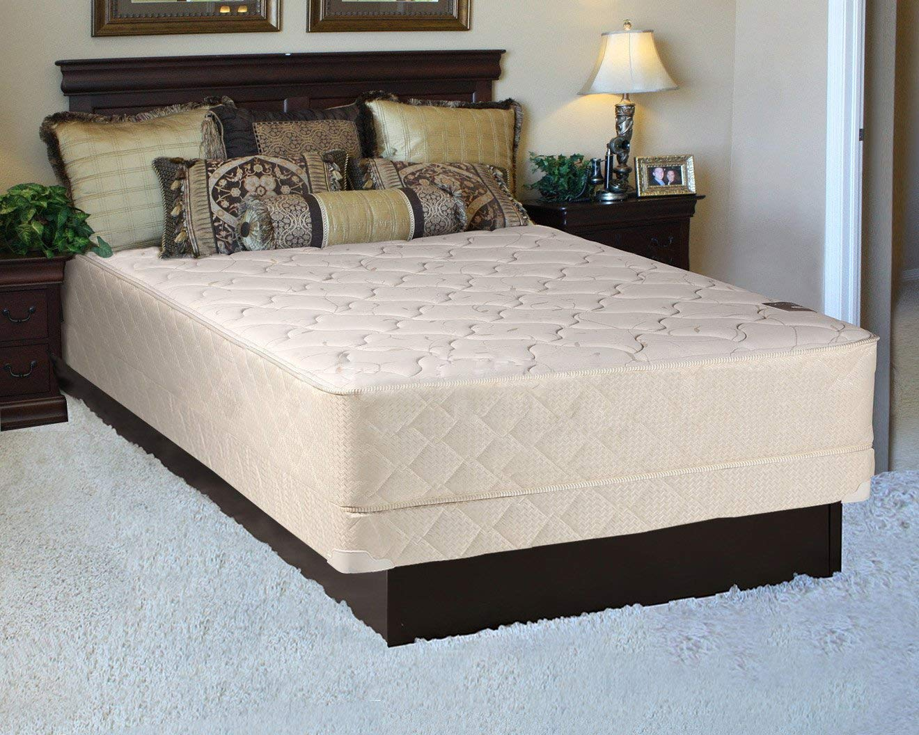 """Mattress Solution 225y-4/6-2LP 10-Inch Fully Assembled Innerspring Medium Plush Mattress and 4"""" Box Spring/Foundation Set, Full Size, White &LT Brown"""