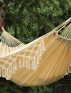 BO SWIFT Outdoor? 100% Cotton Thickening Canvas outdoor 2 Person Portable Tassel Hammock White Fringe Camping Hammock