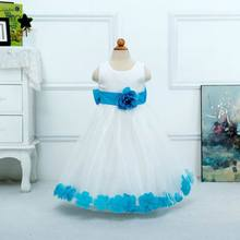 2015 New Children Clothes Girl Party Dress Flower Belt Petal Bottom Gauze Bowknot Back Sleeveless Girl