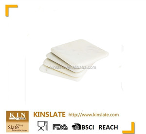 Square Shape Carrara white Marble Coaster a set of 4 stone Coasters for your bar and home drinks with cork or white EVA foot
