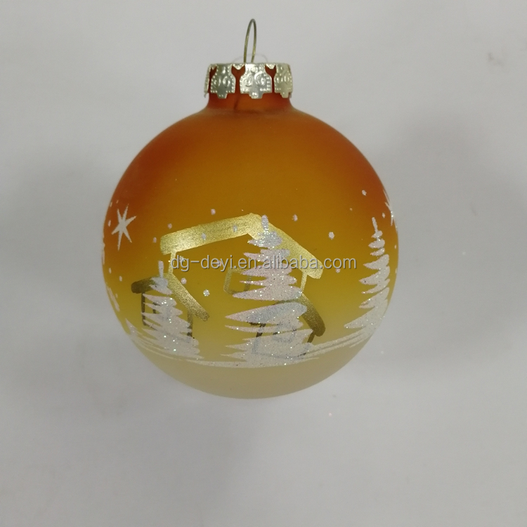 Yellow Christmas tree ornaments glass ball with low price