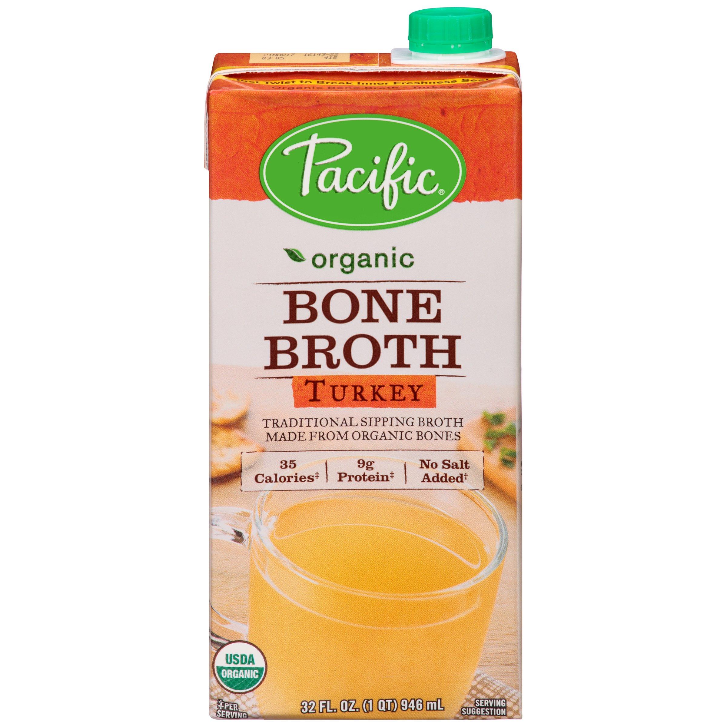 Organic Bone Broth, Turkey by Pacific Foods, 32oz Cartons, 12-Pack