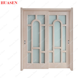European sliding fiber glass insert interior wood door
