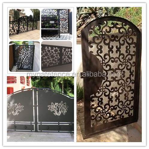 Decorative simple double swing modern laser cut gate for Simple garden gate designs