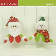 decorative santa and snowman doll christmas plastic candy jar with high quality