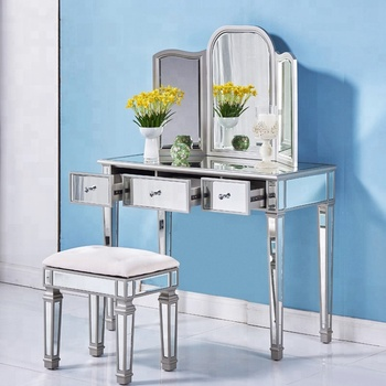 Wholesale Fast Delivery Wooden Vanity Dressing Table With Mirror And Stool.