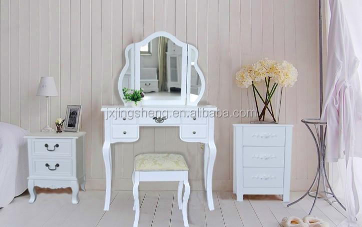 Bianco specchiera trucco scrivania con sgabello 5 cassetti ovale