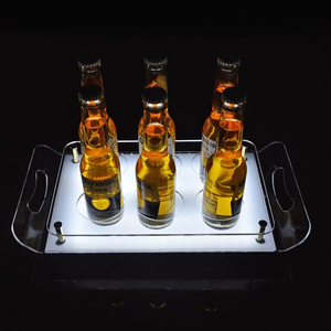 Bar clup square beer glass bottle acrylic display rack led illuminated serving tray