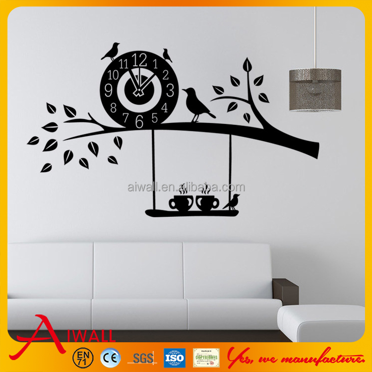 9391 Aves Pegatinas Con Reloj Para Comedor Habitacion Nino Chica - Dibujos-para-la-pared