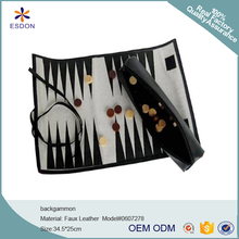PU leather Roll-Up backgammon Travel Case Leather chess game roller - Classic Board Game roll case for travel