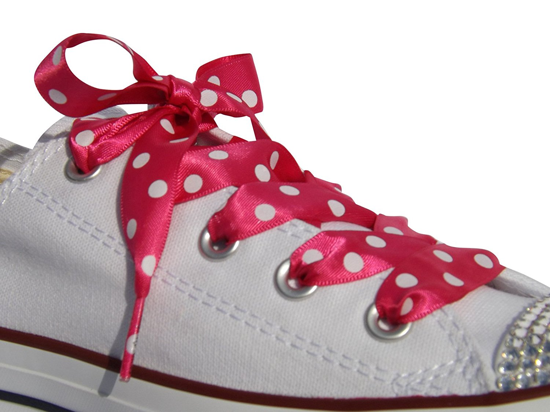 9e938a1e0ee3fb High Fashion Shocking Pink Polka Dot Satin Ribbon Shoe Laces   Shoe Strings  To Fit Converse