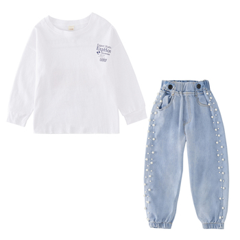 White round collar long sleeve tops + jeans pant bead kids clothes children china online