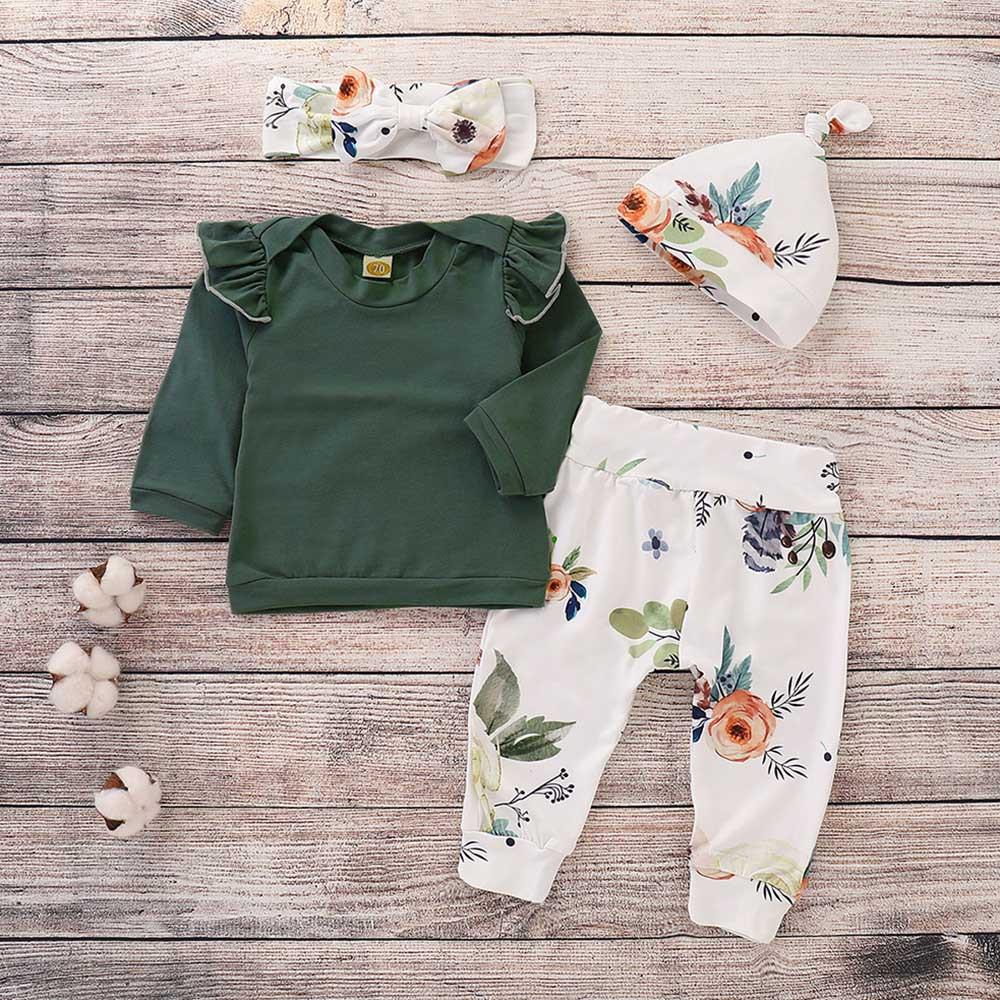 5ee2c8172 Conjunto de ropa para niñas y bebés de manga larga con cuello redondo para  niñas de algodón con estampado Floral