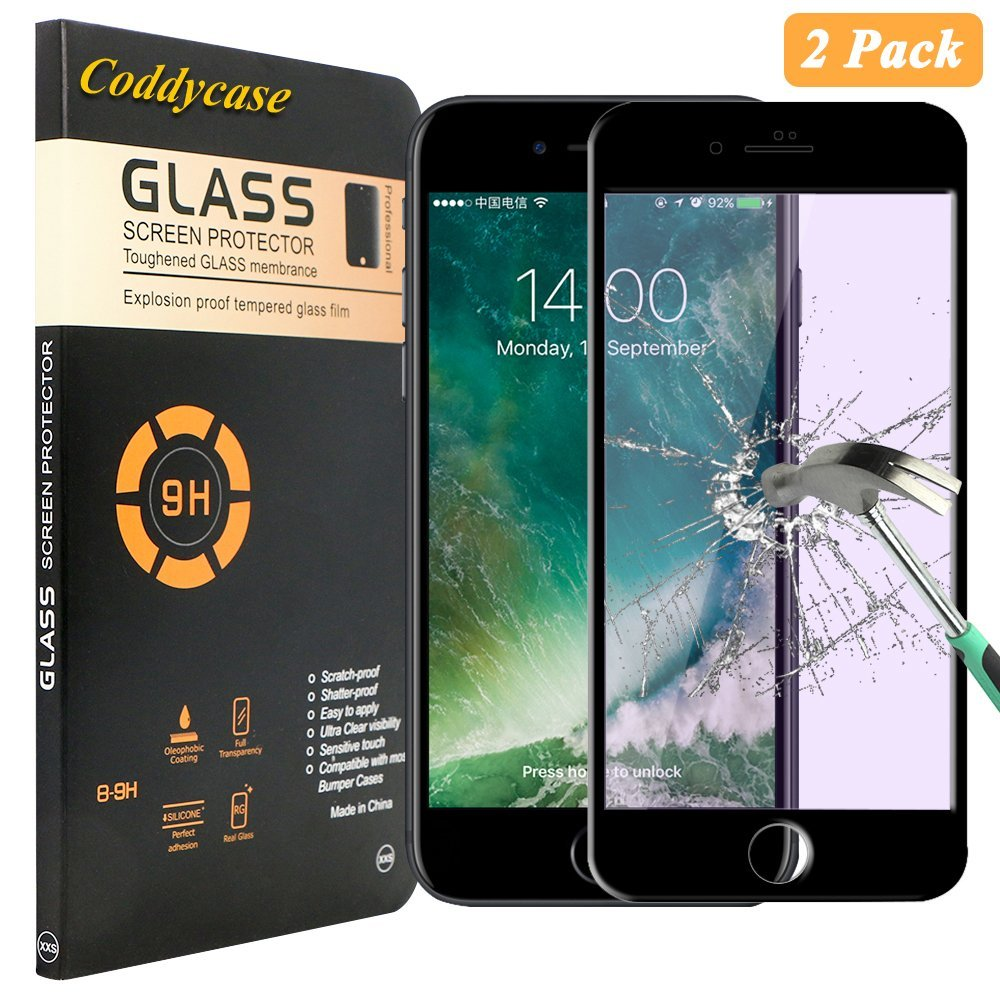 iPhone 7 Plus Glass Screen Protector,iPhone 7 Plus Screen Protector,Coddycase [2 Pack] [HD Clear] Tempered Glass Carbon Fiber Screen Protector for iPhone 7 Plus 5.5 inch-Black