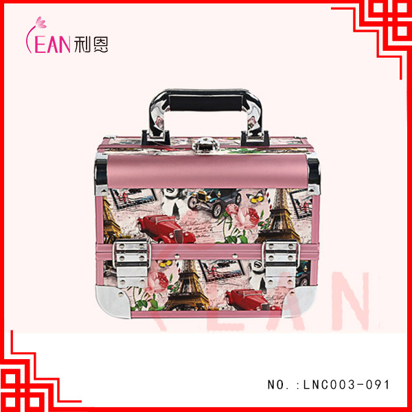 Aluminium cosmetic brush case print artist cosmetic case professional wholoesale cosmetic bag case