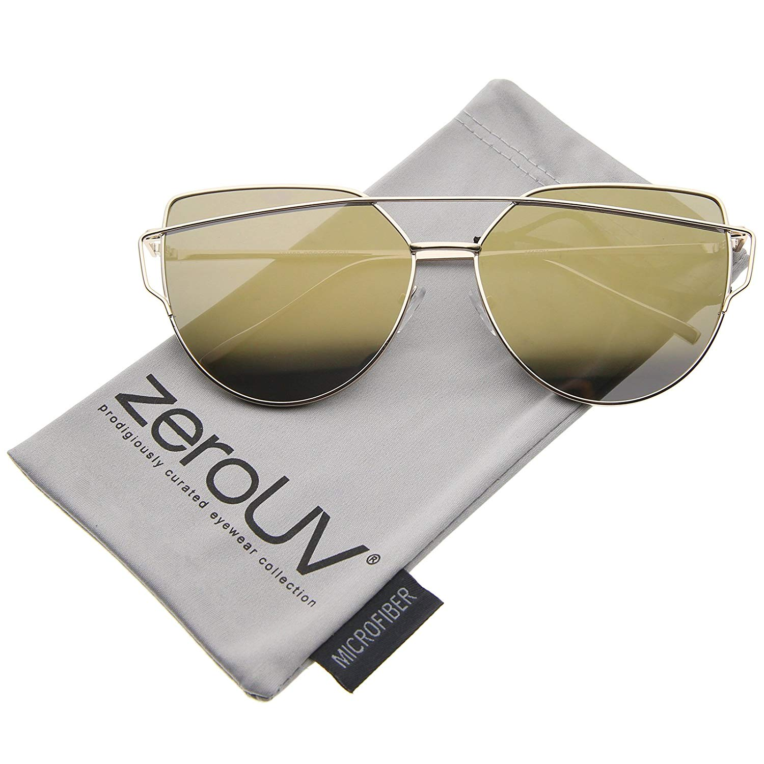 d9dbb1ca51 zeroUV - Oversize Metal Frame Thin Temple Color Mirror Flat Lens Aviator  Sunglasses 62mm