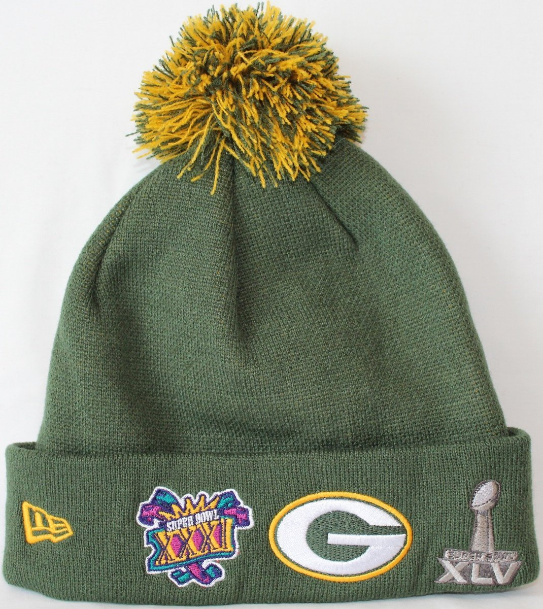 61429b384 Get Quotations · Green Bay Packers Super Bowl Patch Big Team Cuffed Pom  Knit Hat   Cap