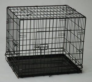 China trade assurance double doors folding puppy dog cage with metal pan