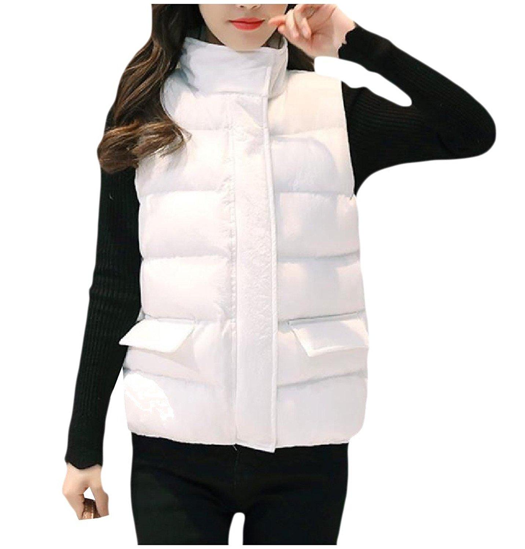 Zimaes-Women Trim-Fit Stand-up Collar Pure Color Down Parka Vest