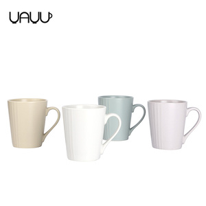 Multiple color elegance fine striped embossed unglazed personalized ceramic coffee mug