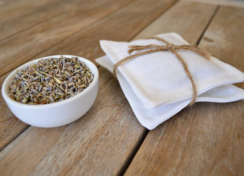 Set of 2 White Linen Sachets of Organic French Lavender, Lavender Sachets, Lavender Pillows