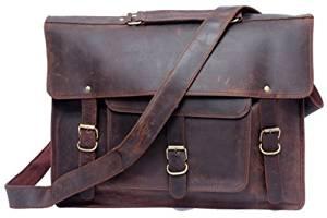 FeatherTouch Men's Large Leather Briefcase Leather Messenger Bag Laptop / Macbook Bag Large Satchel Everyday Bag Brown
