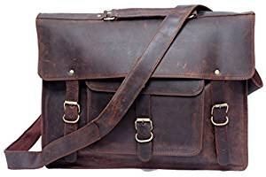 FeatherTouch Men's Everyday Leather Bag Real Leather Briefcase Macbook Bag office Bag Laptop Satchel Crossbody Bag Brown