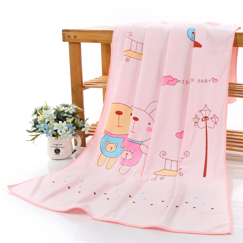 Lucky pink cartoon printed korean microfiber towel