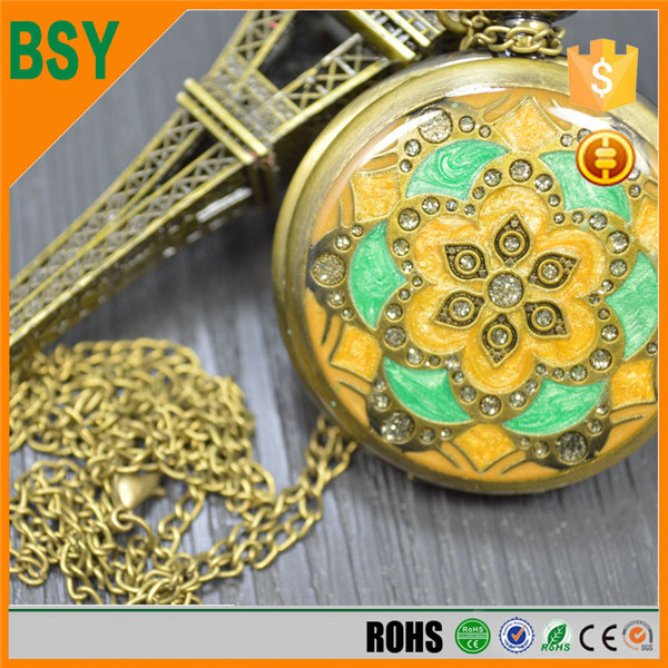 BoShiYa Alice in Wonderland pocket watch necklace pendant charm locket Steam punk rabbit
