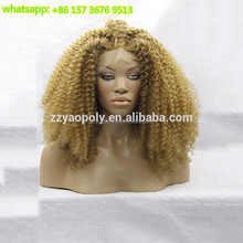 14 inch-26 inch <span class=keywords><strong>blonde</strong></span> <span class=keywords><strong>afro</strong></span> kinky curly synthetische kant pruiken voor vrouwen wit