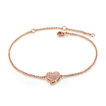2018 New Fashion Simple Designs For Women Heart Shape Micro Inlay Tiny  Rhinestone Rose Gold Chain 0ca9c082ce