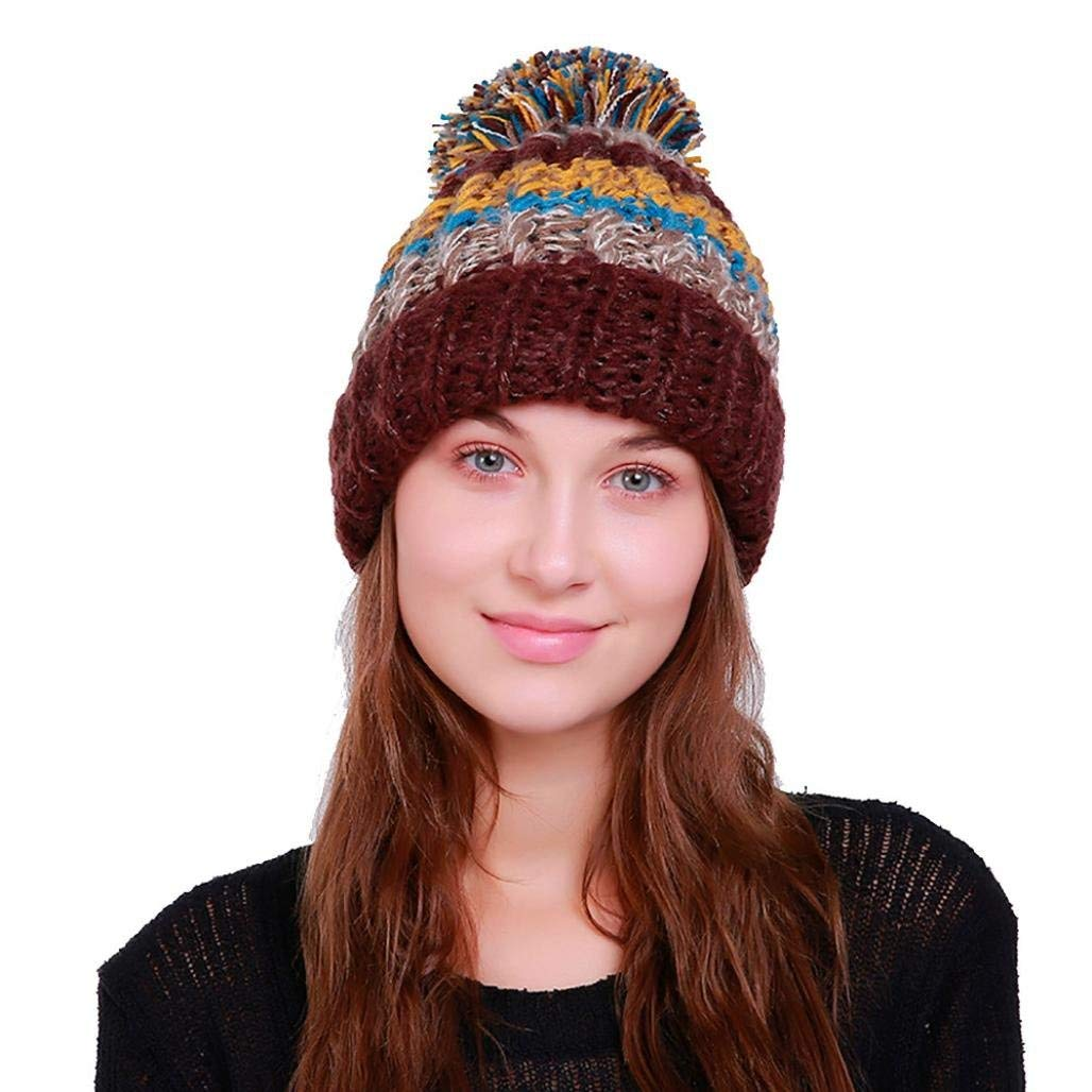 a48b05cf94ca67 Get Quotations · Hunputa Women Hat Winter, Womens Winter Multicolor Striped  Slouchy Knit Beanie Chunky Faux Fur Pom