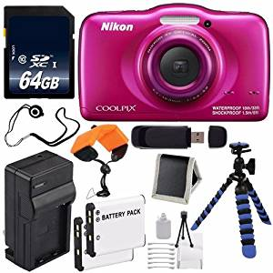 Nikon COOLPIX S33 Digital Camera (Pink) International Model No Warranty + Replacement Battery + External Charger + 64GB SDXC Class 10 Memory Card + Floating Strap + 12-Inch Flexible Tripod + USB Reader + Memory Card Wallet + Cap Keeper