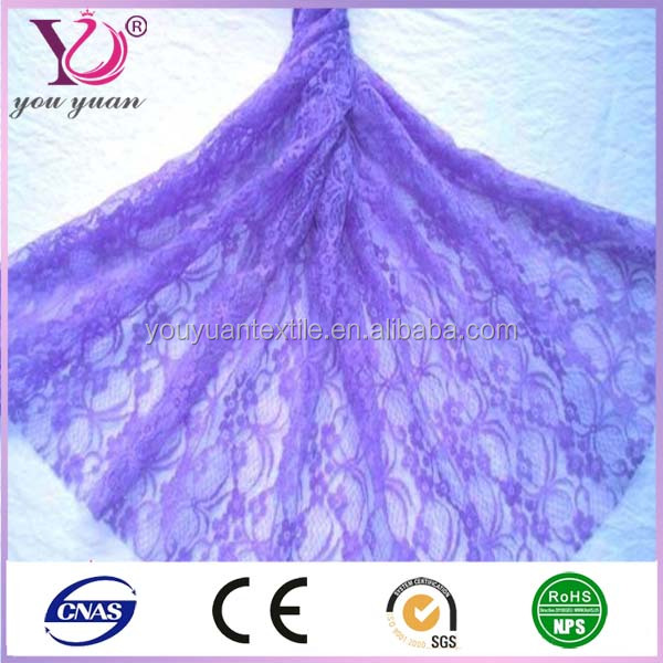 New arrived chemical polyester purple lace fabric