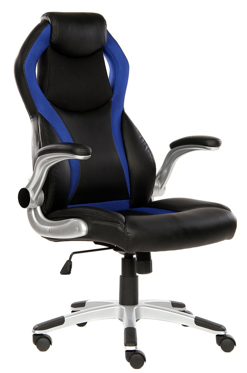 SEATZONE Swivel Leather Gaming Chair With Flip-Up Armrest, Headrest, Lumbar Support, Racing Style Car Seat Computer Chair, Blue