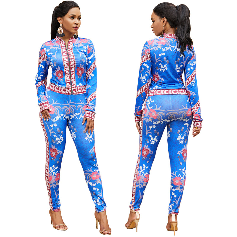 A3480 nieuwe sexy bodycon dames 2 stuk Outfits Sublimatie Bloemenprint jumpsuits vrouwen polyester blauw rompertjes jurk kleding 2019