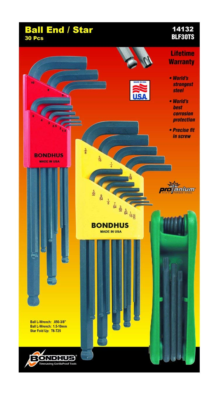 Bondhus 14132 Triple-Pack of .050 to 3/8-Inch Ball End Hex, 1.5 to 10-mm Ball End Hex and Star Fold-Up T6 - T25