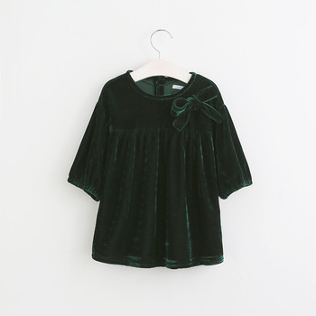 5b726f29d242 Dark Green Baby Girls Velvet Frock Design Dresses - Buy Velvet ...