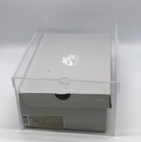 PP stackable plastic clear drop front shoe box
