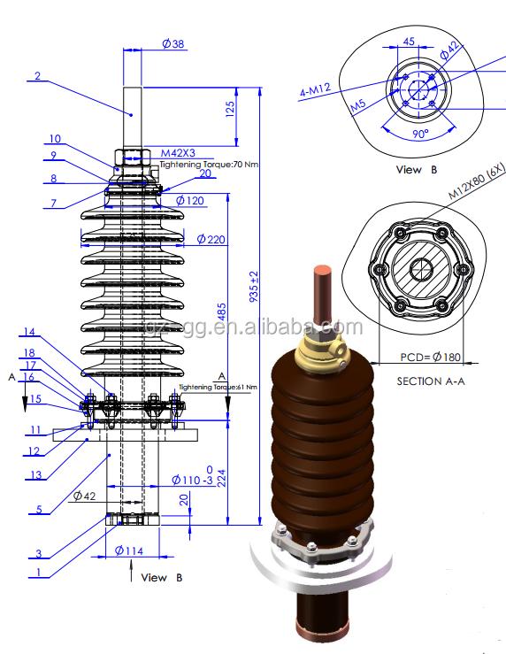 36kv    2500a Porcelain Hv Bushing Electrical Transformer
