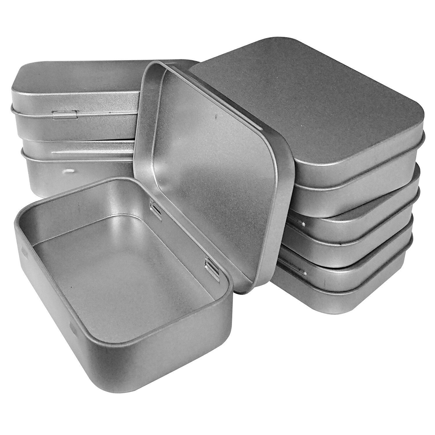 Hulless 3.75x2.45x0.8 Inch (12pcs) Metal Hinged Top Tin Box Containers,Mini Portable small storage containers Kit,Tin Box Containers,small tins with lids,craft containers,Tin empty boxes,Home Storage.