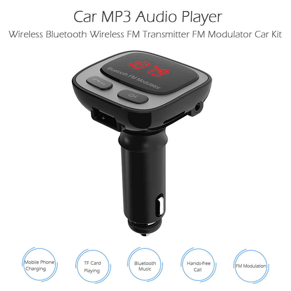 Wholesale-Car MP3 Audio Player Wireless TF Card Bluetooth Car Kit Wireless  FM Transmitter Modulator Hands-free Car Charger for Smart Phone