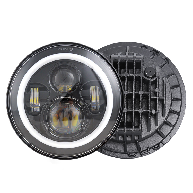 Factory Supply Wholesale high quality 7 inch round led headlight h4 12V 24V 7inch for jeep led headlights for jeep wrangler
