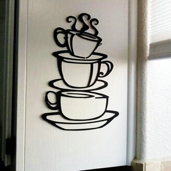 Warm Teacups Vinyl Wall Sticker Decoration For Home Living Room