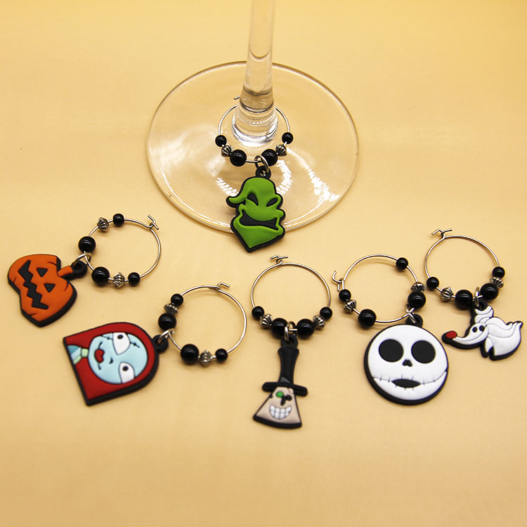Halloween Party Spooky Pumpkin Ghost Witch Skeleton Wine Glass Bottle Drink Markers Charms