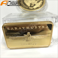 High Quality iron 24K gold bar copper bullion pure 999.9 Gold Plated metal Bar Made In China